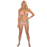 Bikini Top Pink / Green PWC Jetski Ride & Race Jet Ski Apparel