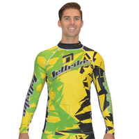 Longsleeve Shattered Rashguard - Yellow/Green PWC Jetski Ride & Race
