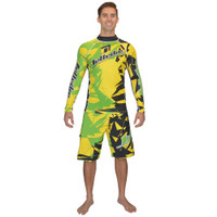 Longsleeve Shattered Rashguard Yellow/Green PWC Jetski Ride & Race