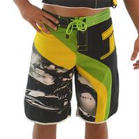 Men's Roadies Shorts - Yellow/Green PWC Jetski Apparel