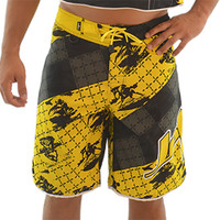 Men's Cross Hatch Shorts - Yellow PWC Jetski Ride & Race Apparel