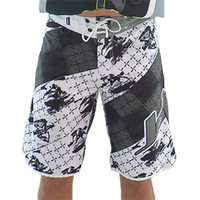 Men's Cross Hatch Shorts - White / Grey PWC Jetski Ride Apparel
