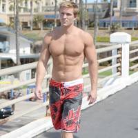 Men's Cross Hatch Shorts - Red PWC Jetski Ride & Race Apparel