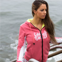 Ladies Annie Zip-Up Hoodie - Pink / White PWC Jetski Ride Apparel