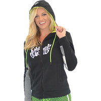 Ladies Annie Zip-Up Hoodie - Black / White PWC Jetski Ride Apparel