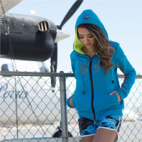 Ladies Annie Zip-Up Hoodie - Turquoise / Grey PWC Jetski Ride Apparel