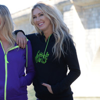 Ladies Annie Pull Over Hoodie - Black / Green PWC Jetski Ride Apparel
