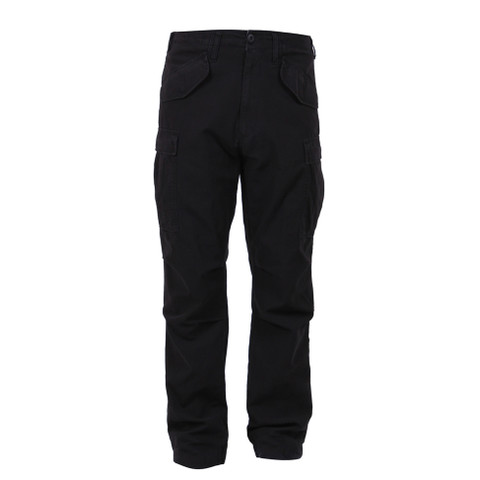 Vintage Style M 65 Black Field Pants - Front View