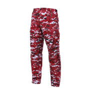 Red Digital Camo BDU Fatigue Pants - Left Side View