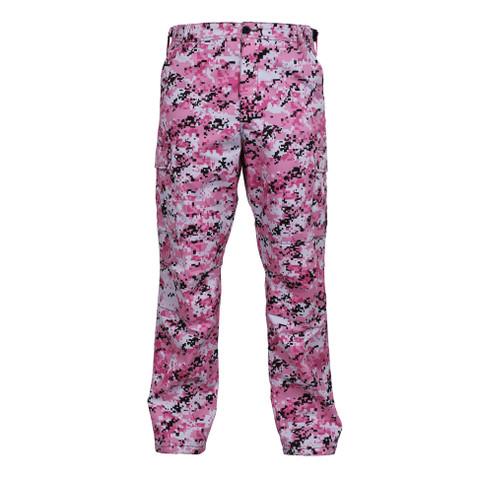 Pink Digital Camo BDU Fatigue Pants - Front View