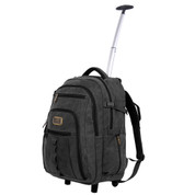 Rothco Black Rolling Canvas Backpack - Front Open View