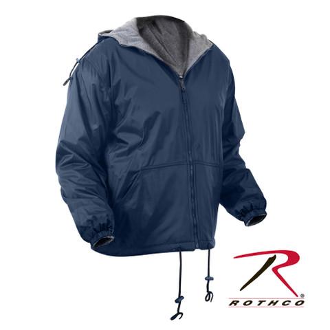 Reversible Fleece Lined Jacket w/Hood - Navy
