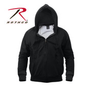 Black Thermal Hooded Lined Sweatshirt - Front View