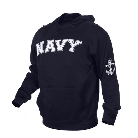 Navy Embroidered Pullover Hoodies