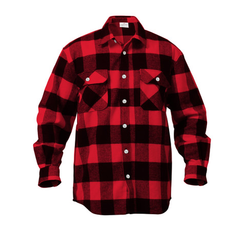 Extra Heavyweight Buffalo Red Plaid Flannel Shirts - Front View