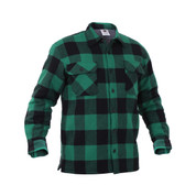 Extra Heavy Buffalo Green Plaid Sherpa Lined Flannel Shirt - View