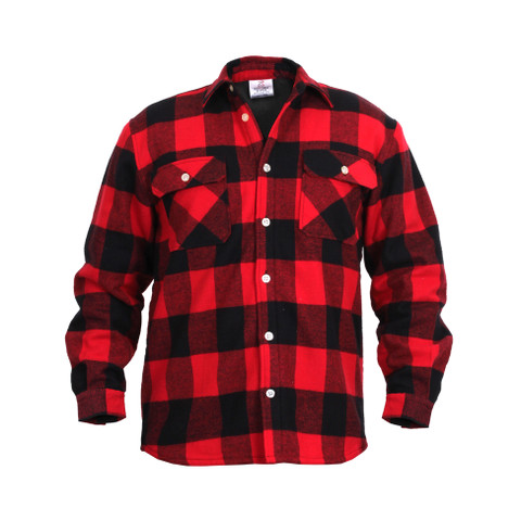 Polar Fleece Lined Red Buffalo Plaid Flannel Shirt - Front View