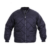 Diamond Nylon Quilted Navy Work Jacket - Front View