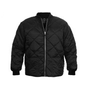 Diamond Nylon Quilted Black Work Jacket - Front View