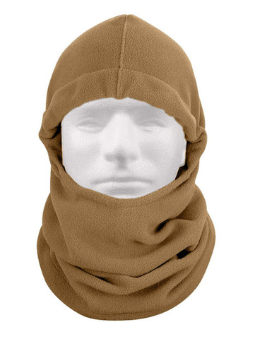 Coyote Brown Polar Fleece Adjustable Face Mask - View