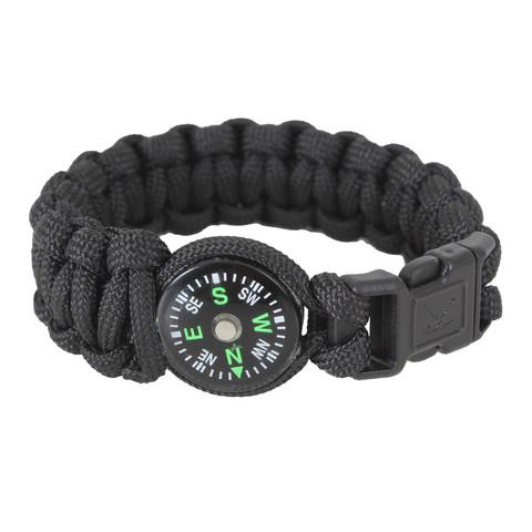 Kids Survival Compass Paracord Bracelet - Black
