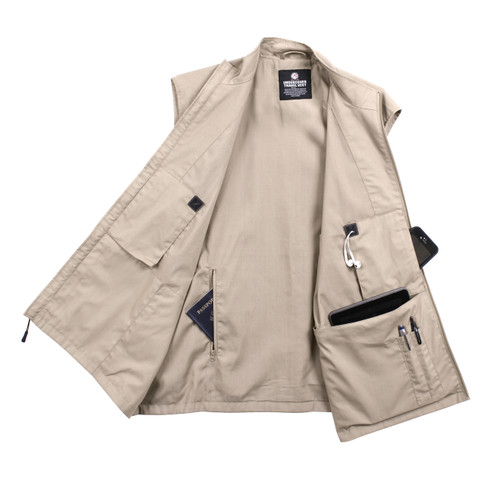 Rothco Khaki Undercover Travel Vest - Open Inside View