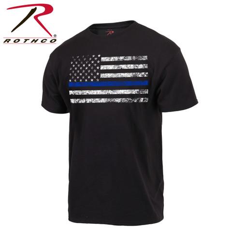 Rothco Thin Blue Line T Shirt - View