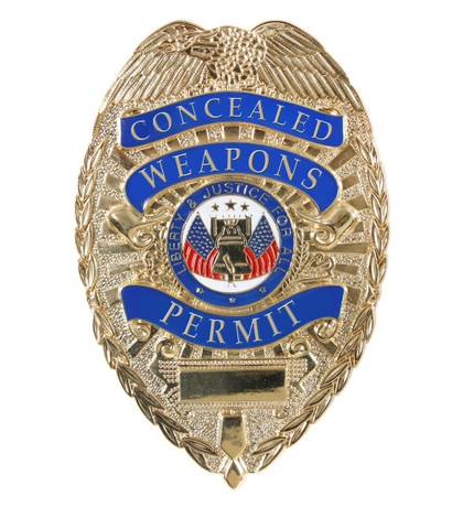 """Deluxe """"Concealed Weapons Permit"""" Badge - View"""
