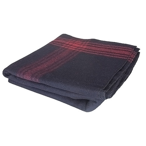 Adventure Navy/Red Striped Wool Blanket - Folded Side View