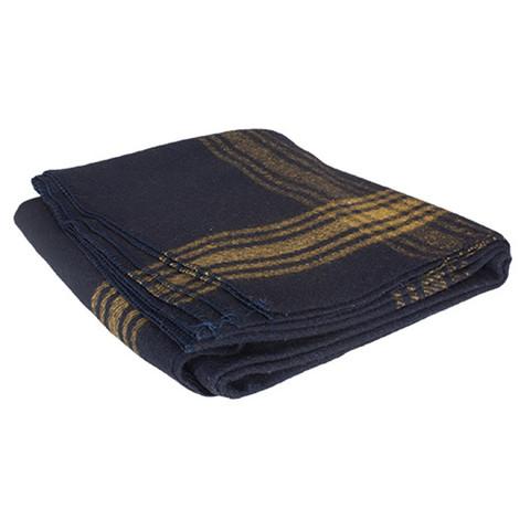 Adventure Navy/Mustard Striped Wool Blanket - Side Fold View