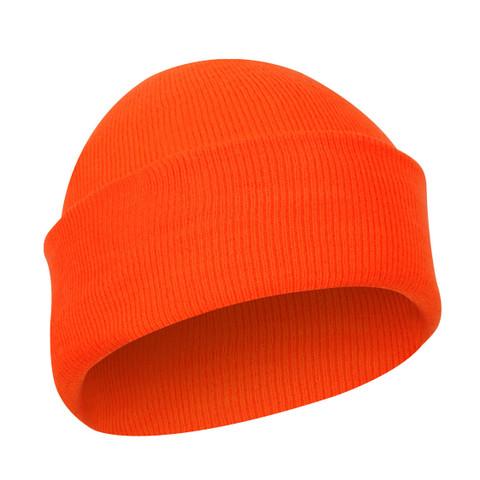 Deluxe Fine Knit Safety Orange Watch Cap - View