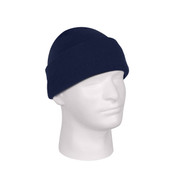 Deluxe Fine Knit Navy Blue Watch Cap - View