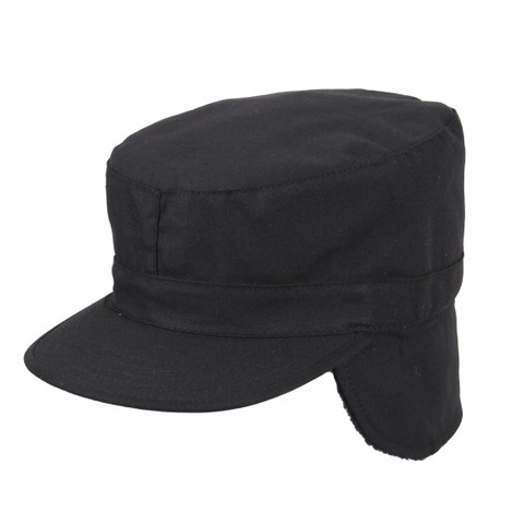 Tactical Cold Weather Fatigue Cap w/Ear Flaps - Ear Flap View