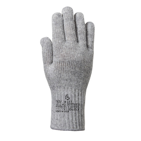 G.I. Grey Wool Liner Gloves - Top View