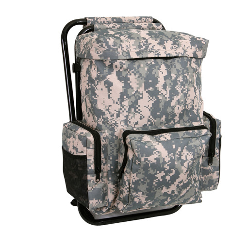 Digital Camo Backpack & Stool Combo Pack - Front View