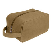 Coyote Brown Canvas Travel Kit Bag - View