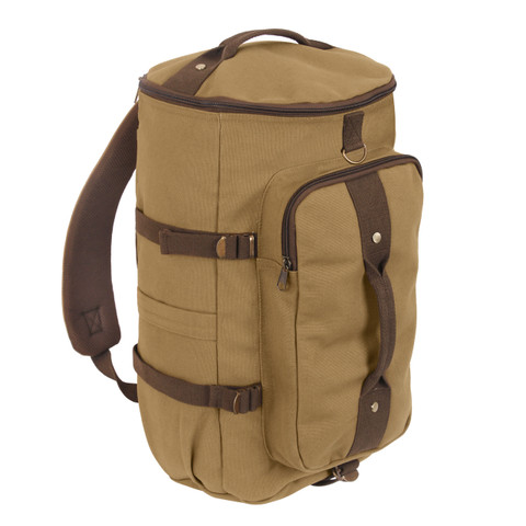 """Touring 19"""" Canvas Duffle Gear Backpack - Angle View"""