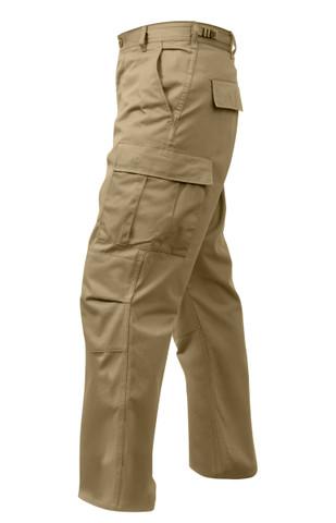 Relaxed Fit Zipper Khaki BDU Fatigue Pants - Left View