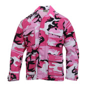 Pink Camo Color BDU Fatigue Shirt - View