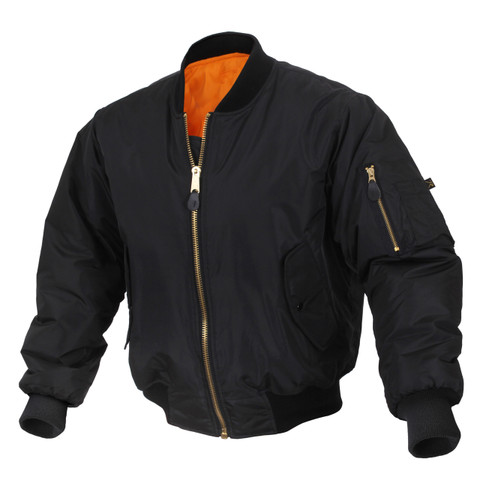Enhanced Nylon Black MA-1 Flight Jacket - View
