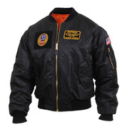 Aviator Black MA-1 Flight Jacket w/ Patches - View