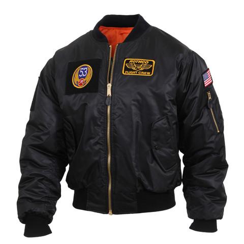 Aviator Black MA-1 Flight Jacket w/ Patches - View
