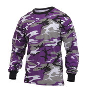Ultra Violet Camo Long Sleeve T Shirts - View