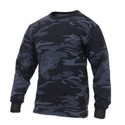 Midnight Blue Camo Long Sleeve T Shirt  - View