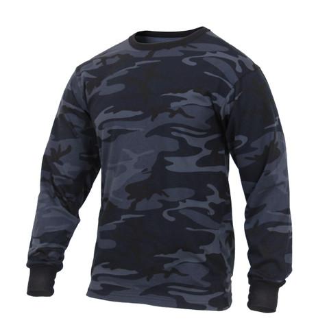 Midnight Blue Camo Long Sleeve T Shirt  - View