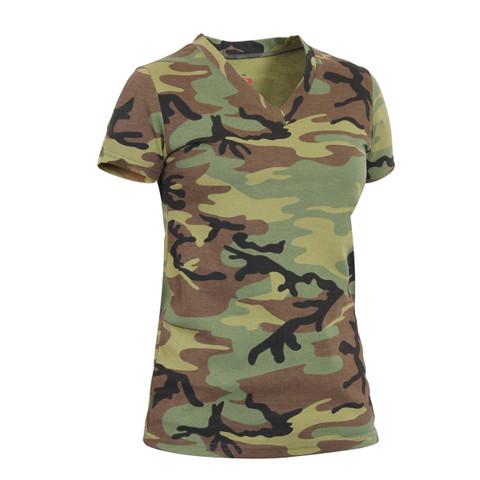 Womens Long Length Camo V Neck T Shirt - View