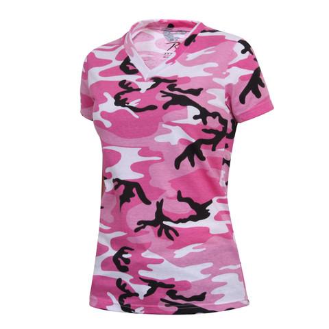 Womens Long Length Pink Camo V Neck T Shirt - View