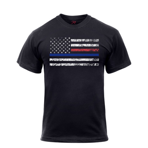 Rothco Thin Blue Line Red Line T Shirt - View