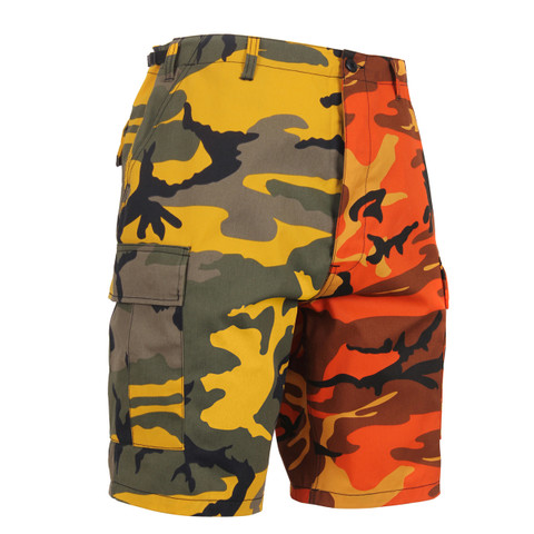 Two Tone Color Stinger Yellow/Savage Orange Camo Short - View