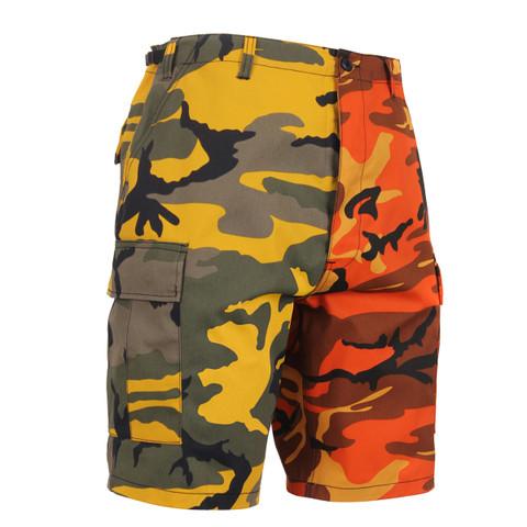 Two Tone Color Stinger Yellow/Savage Orange Camo Short - View